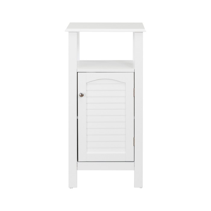 Lombard Shutter Style Door and Open Shelving Bath Vanity Cabinet White - Elegant Home Fashions - image 1 of 6