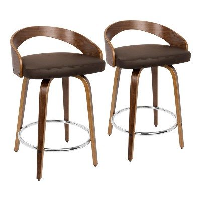 Set of 2 Grotto Mid Century Modern Counter Height Barstool with Swivel Faux Leather - LumiSource