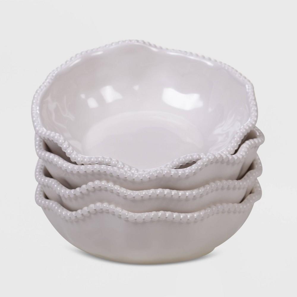 Image of 22oz 4pk Melamine Perlette All Purpose Dinner Bowls Cream - Certified International