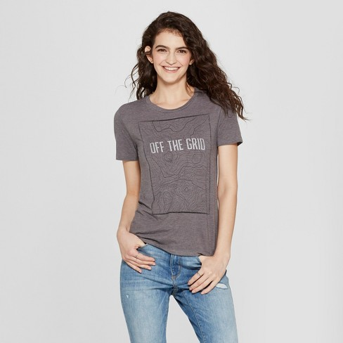 Women's Short Sleeve Off The Grid Graphic T-Shirt - Awake Charcoal - image 1 of 2