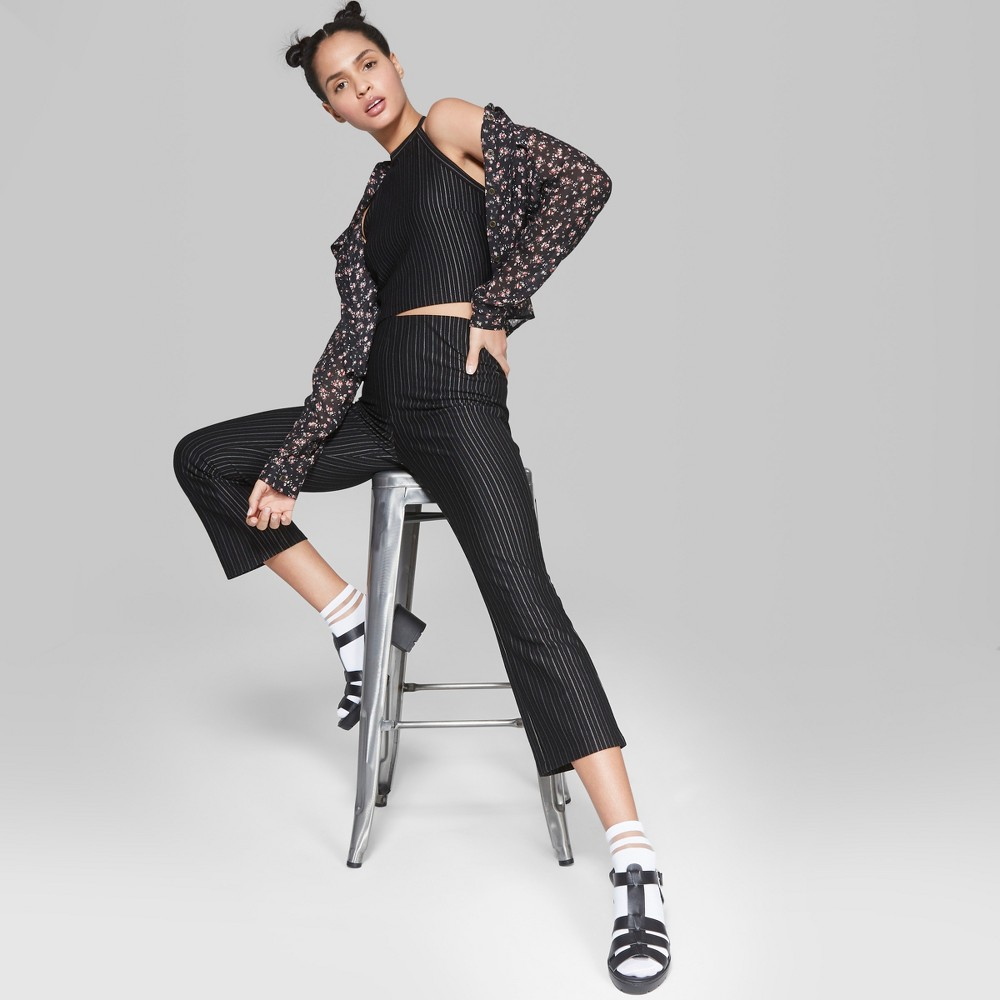 Women's Striped Wide Leg Woven Pants - Wild Fable Black S