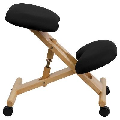 Delicieux Mobile Wooden Ergonomic Kneeling Chair In Black Fabric   Belnick : Target