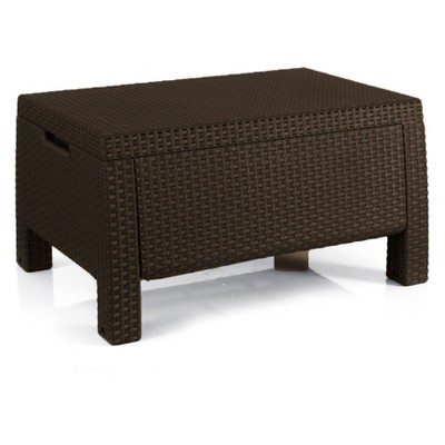 Bahamas Outdoor Resin Patio Storage Coffee Table Brown - Keter