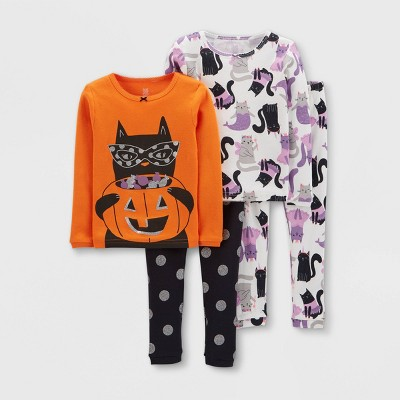 Toddler Girls' 4pc Halloween Snug Fit Pajama Set - Just One You® made by carter's Orange/Black