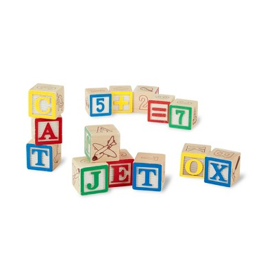 Beau Melissa U0026 Doug® Deluxe Wooden ABC/123 Blocks Set With Storage Pouch (50pc;  Colors May Vary) : Target