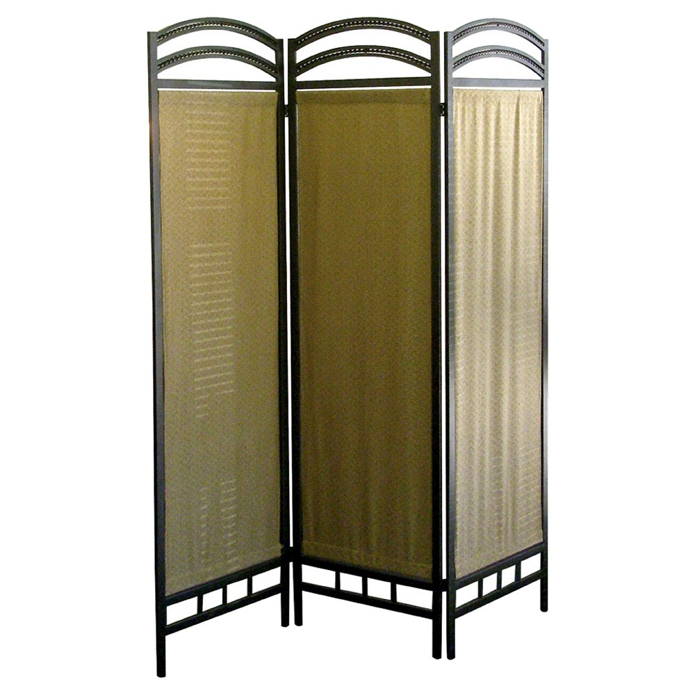 3 Panel Room Divider Pewter (Silver) - Ore International The Indoor Contemporary Privacy Screen with Black Frame is a sensational accent for any setting, a lightweight and easily portable screen that saves energy and increases privacy while adding rich neutral color and contemporary style. Color: Pewter.
