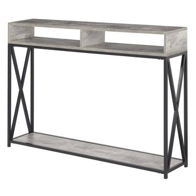 Tucson Deluxe 2 Tier Console Table Faux Birch White   Johar Furniture