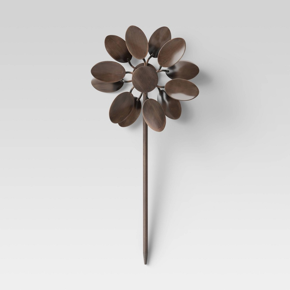 """Image of """"11"""""""" Iron Pot Stake With Leaves On Top Copper Brown - Smith & Hawken"""""""