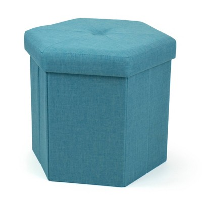 Devon Foldable Hexagon Storage Ottoman Light Blue - Humble Crew
