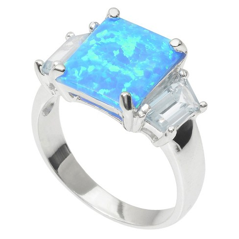1 1/8 CT  T W  Journee Collection Baguette Cut CZ Simulated Opal Ring in  Sterling Silver - Blue (5)