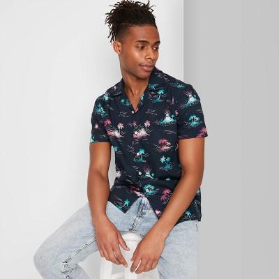 Men's Floral Print Short Sleeve Poplin Button-Down Shirt - Original Use™ Blue