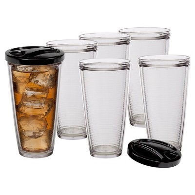 CreativeWare 22oz Acrylic Insulated Tumblers with Lid - Set of 6