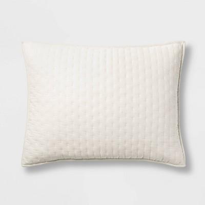 Standard Cashmere Blend Quilted Pillow Sham Natural - Casaluna™