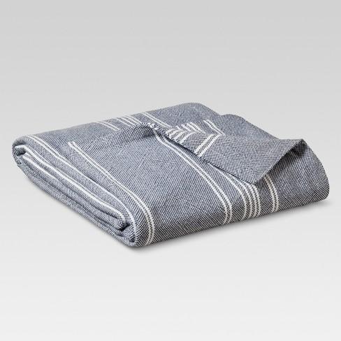 Yarn Dye Stripe Ringspun Cotton Bed Blanket - Threshold™ - image 1 of 4