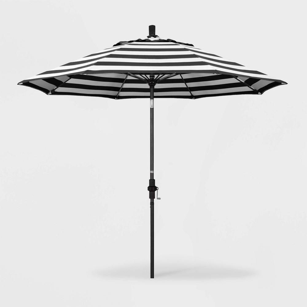 Image of 9' Sun Master Patio Umbrella Collar Tilt Crank Lift - Sunbrella Cabana Classic - California Umbrella