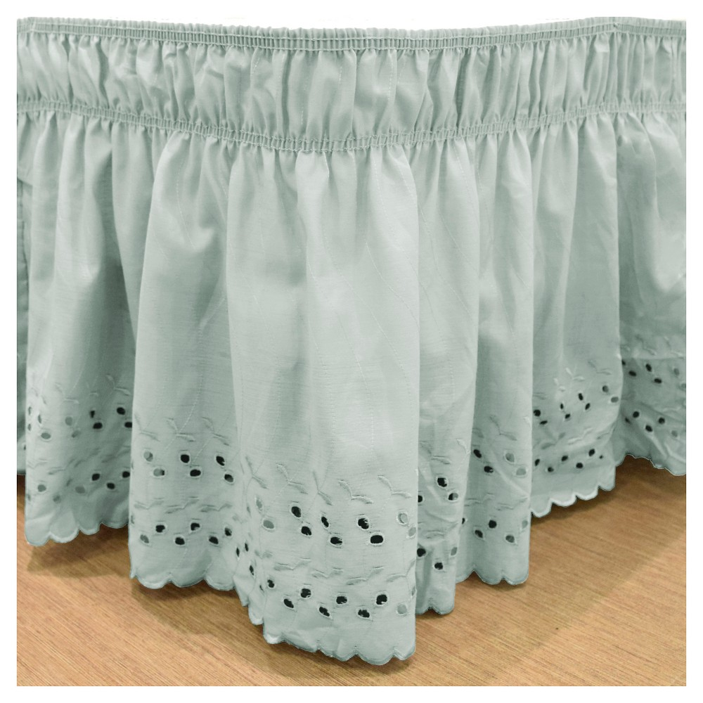 "Image of ""Blue Wrap Around Eyelet Ruffled Bed Skirt (Queen/King) (80""""X60"""") -EasyFit"""