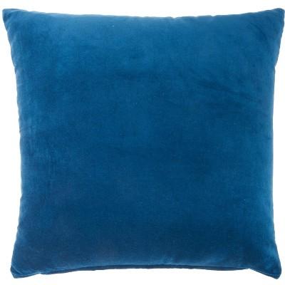 """20""""x20"""" Oversize Solid Velvet Square Throw Pillow Navy - Nourison"""