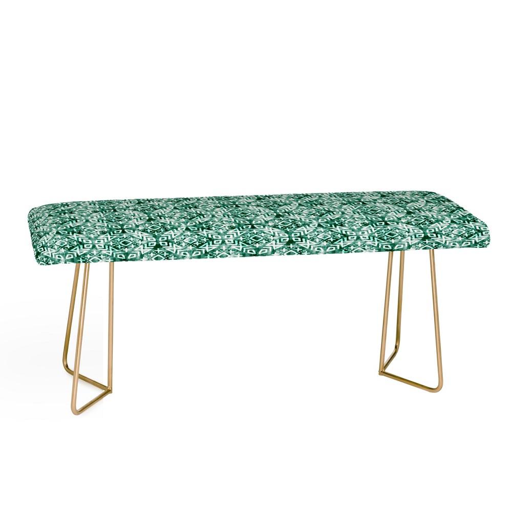 Little Arrow Design Modern Emerald Bench with Gold Aston Legs - Deny Designs, Gold Legs