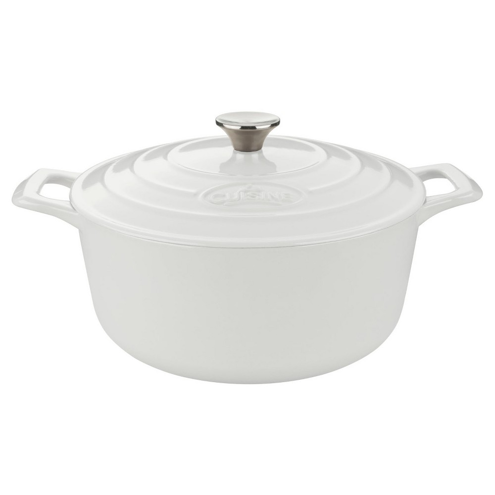 La Cuisine LC 2180MB Pro Round 5 Qt. Cast Iron Casserole - White