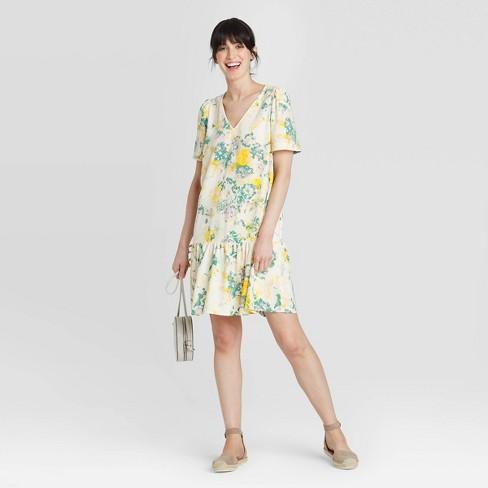 Women's Short Sleeve Ruffle Hem Dress - A New Day™ - image 1 of 4