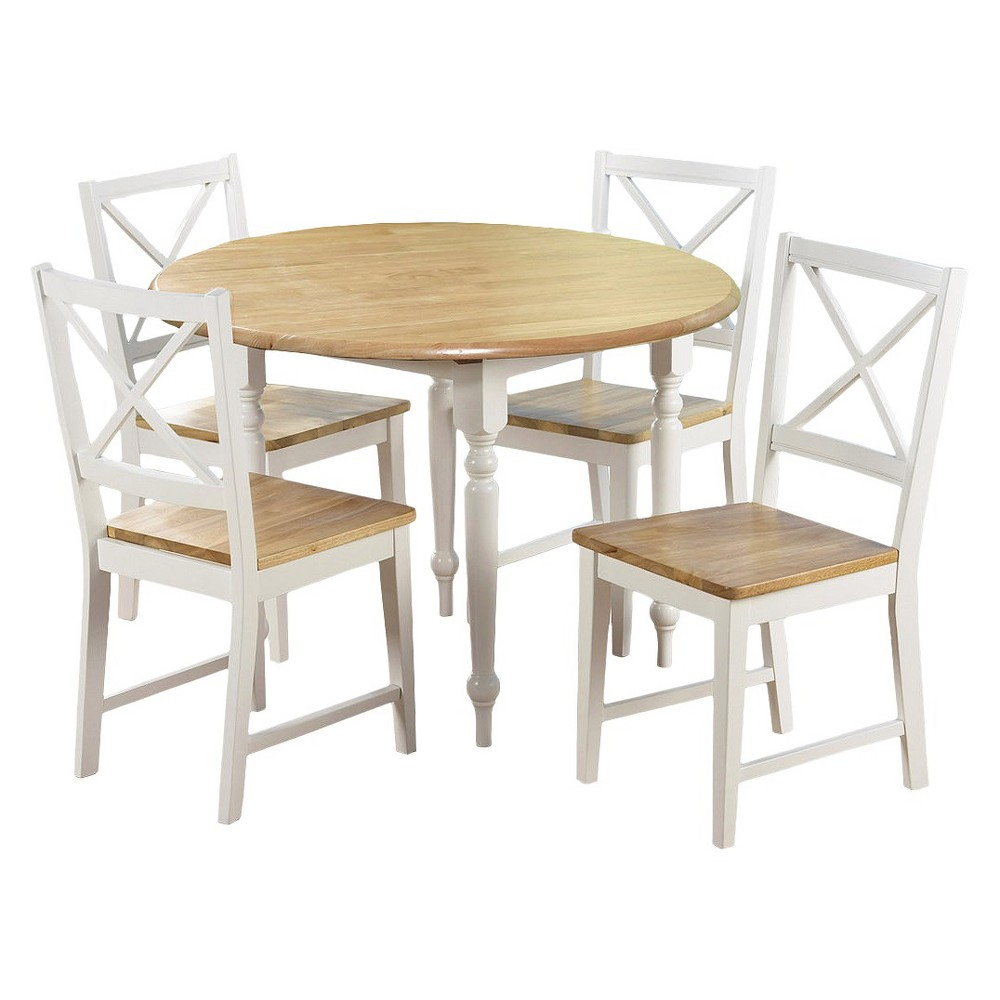5 Piece Virginia Dining Set Wood/White - Tms, White/Natural