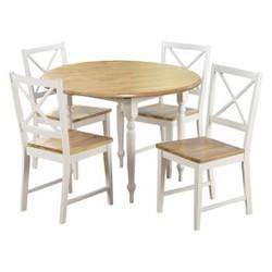 5 Piece Virginia Dining Set Wood/White - TMS