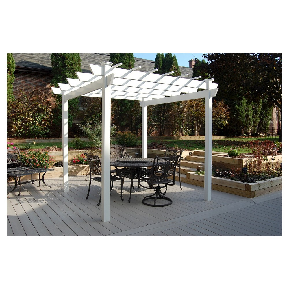 "Image of ""84"""" Kingston Vinyl Pergola - White - Dura-Trel"""