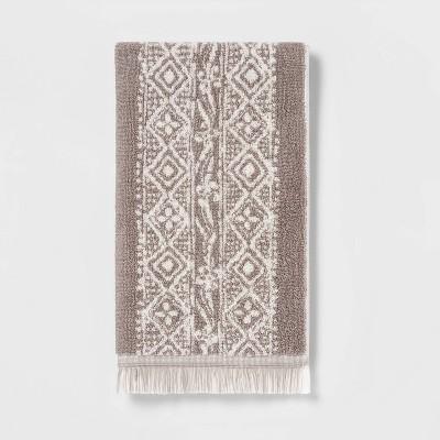 Stamped Geo Hand Towel Gray - Threshold™