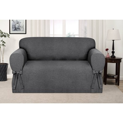 Evening Flannel Loveseat Slipcover Charcoal - Kathy Ireland