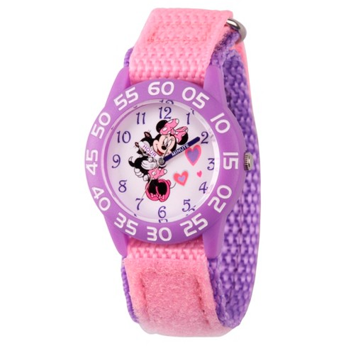 Girls' Disney Minnie Mouse Purple Plastic Time Teacher Watch - Pink - image 1 of 1