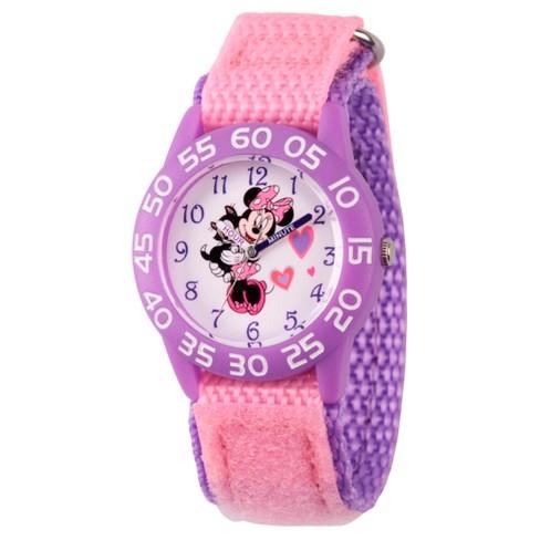 Girls' Disney Minnie Mouse Purple Plastic Time Teacher Watch - Pink - image 1 of 1