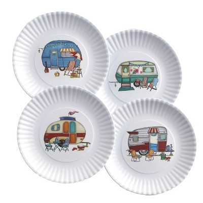 Lakeside Nostalgic Camper Melamine Dinner Plates with Scalloped Edges - Set of 4