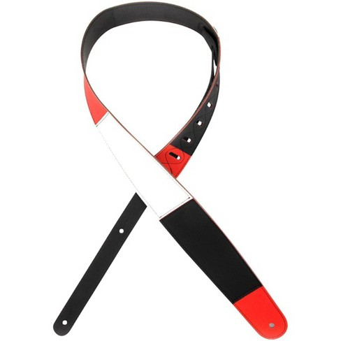 "D'Addario Planet Waves 2.5"" Leather Guitar Strap, Horizontal Stripe, by D'Addario Black, Red and White - image 1 of 3"