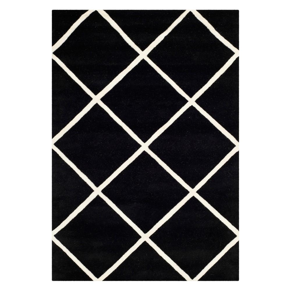 4'X6' Geometric Tufted Area Rug Black/Ivory - Safavieh