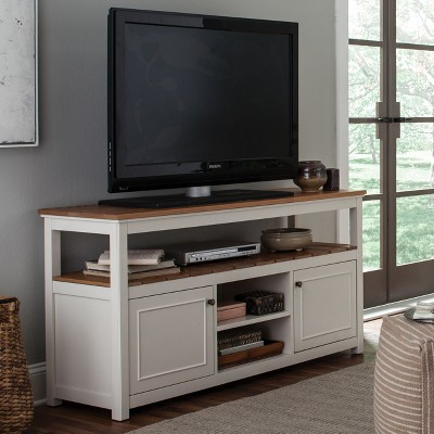 Charmant Savannah TV Cabinet Ivory With Natural Wood Top   Bolton Furniture : Target