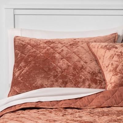Standard Velvet Diamond Stitch Quilt Sham Warm Blush - Threshold™