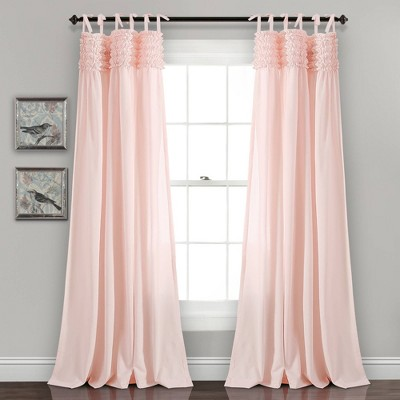 "Set of 2 40""x84"" Lydia Ruffle Window Curtain Panels - Lush Décor"