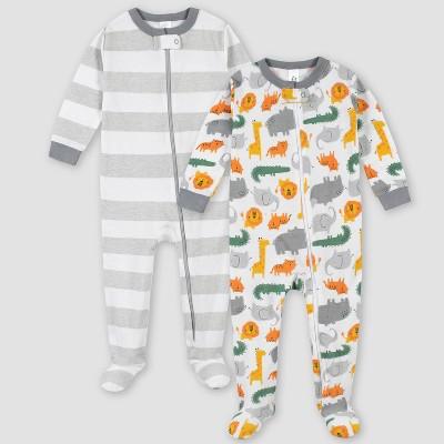 Gerber Boys' 2pk Footed Pajama - White 6M
