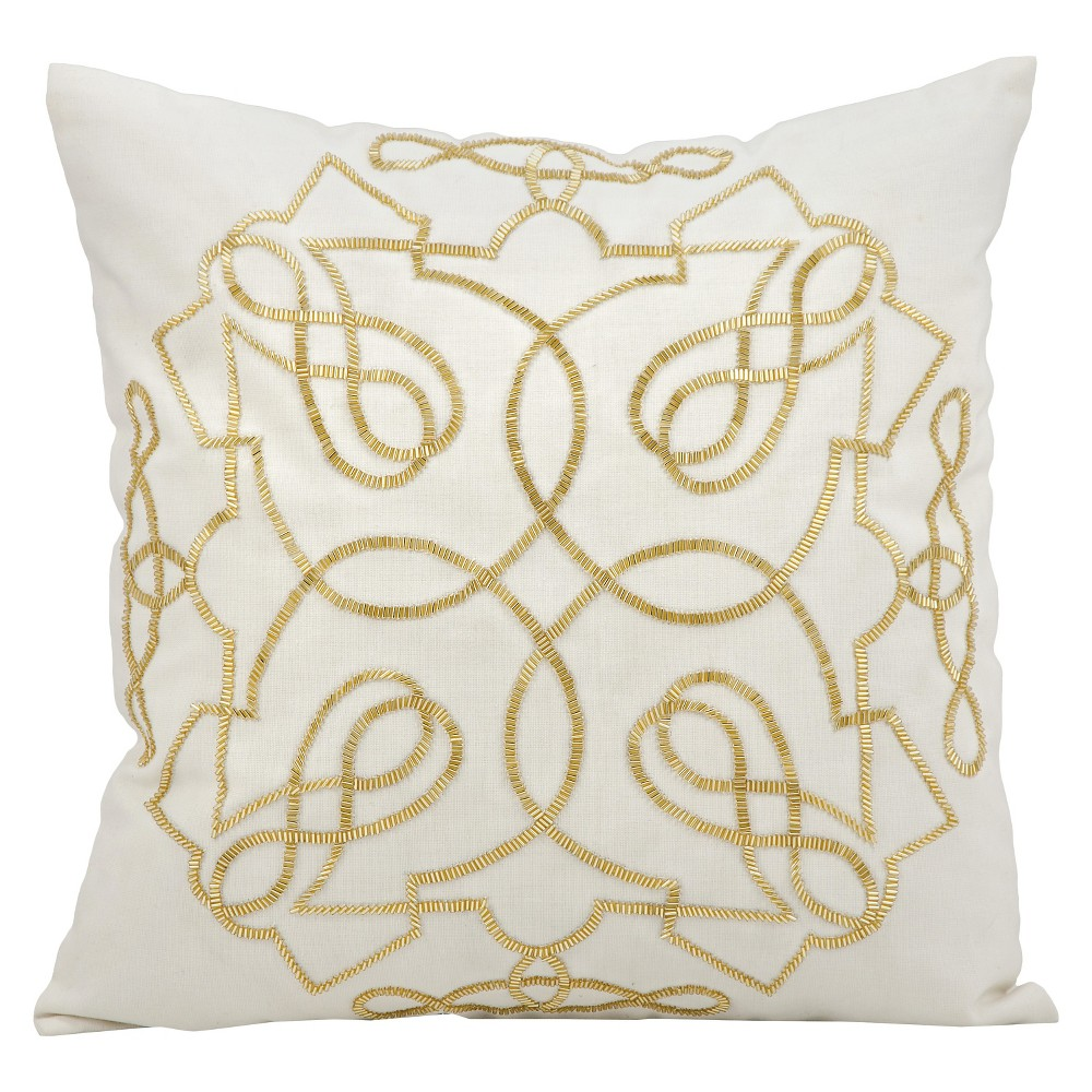 """Image of """"Infinity Beaded Throw Pillow White & Gold (18""""""""x18"""""""") - Mina Victory, Gold White"""""""