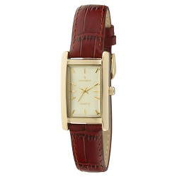 Peugeot Women's Gold Tone Rectangular Brown Leather Strap Watch