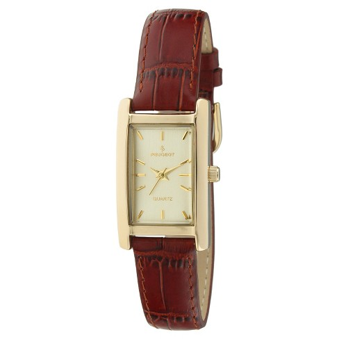 ff6d629c2 Peugeot Women's Gold Tone Rectangular Brown Leather Strap Watch : Target