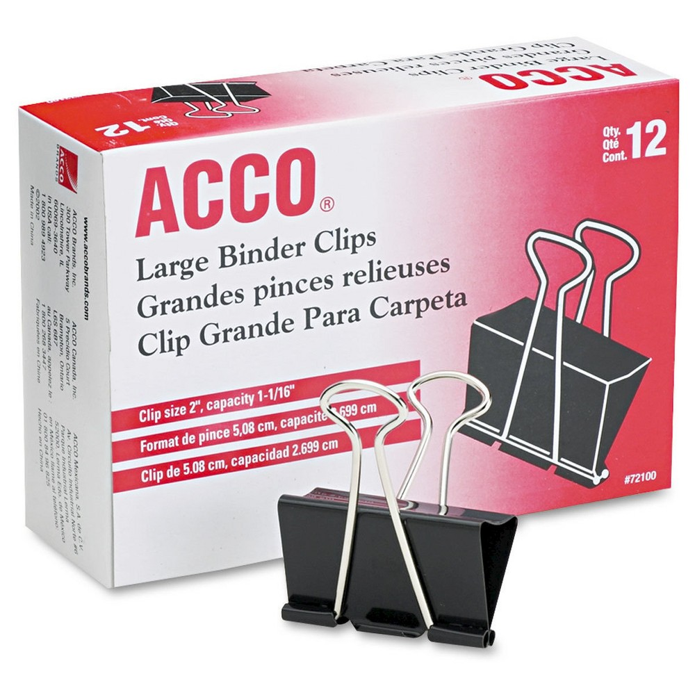 Image of Acco 1-1/16 Capacity Steel Wire Large Sized Binder Clips - Black/Silver (12 Pack)