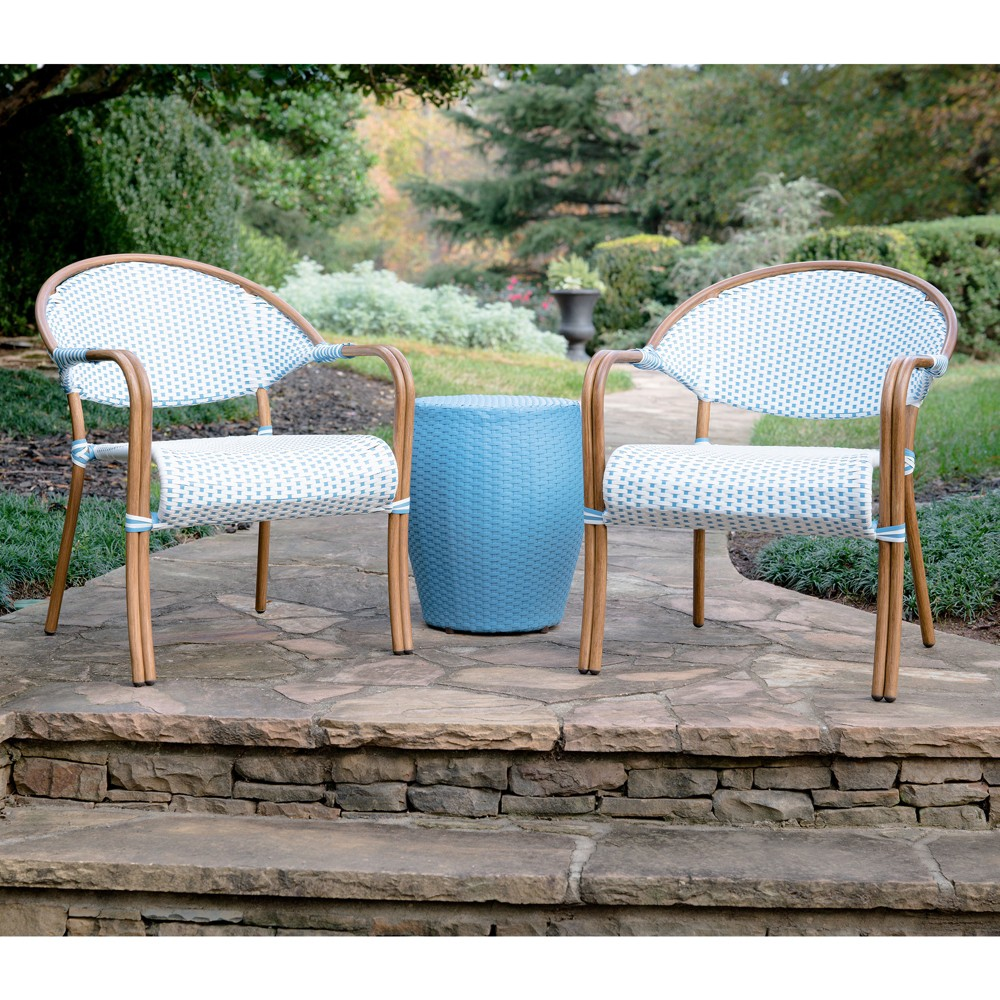 Image of 3pc Monticello All-Weather Wicker Bistro Set Blue - Leisure Made