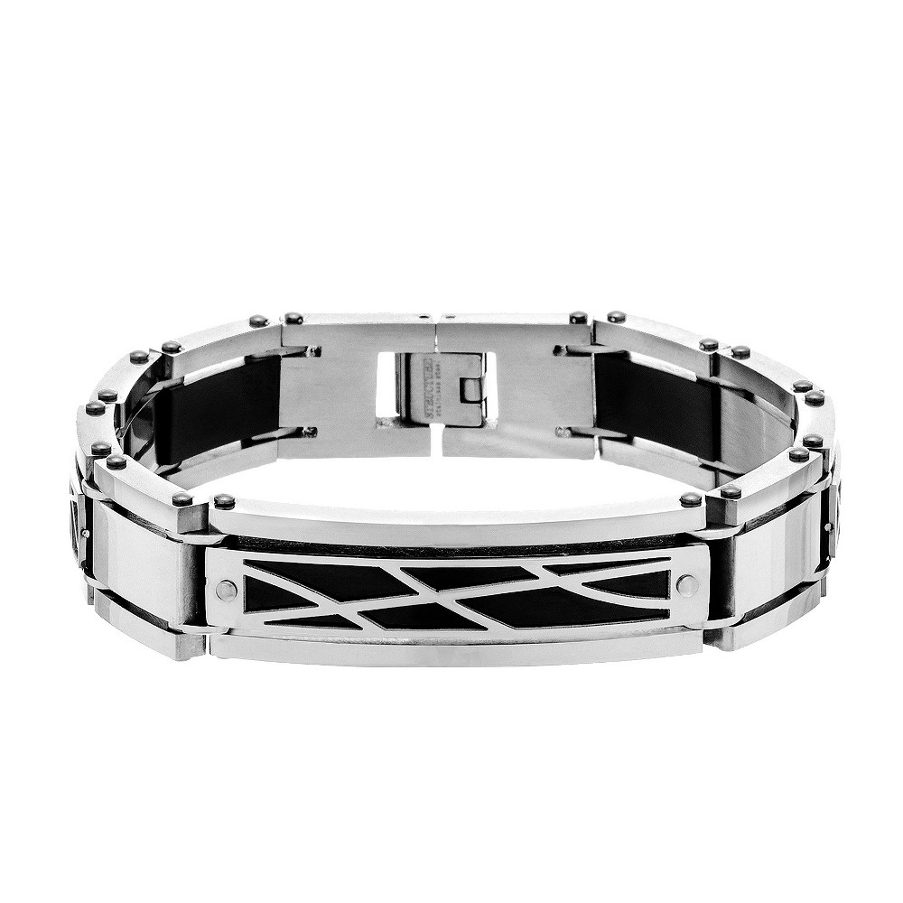 Image of Men's Two-Tone Stainless Steel Rivets and Geo Shaped Design Polished Plate Square Links Bracelet, Multi-Colored
