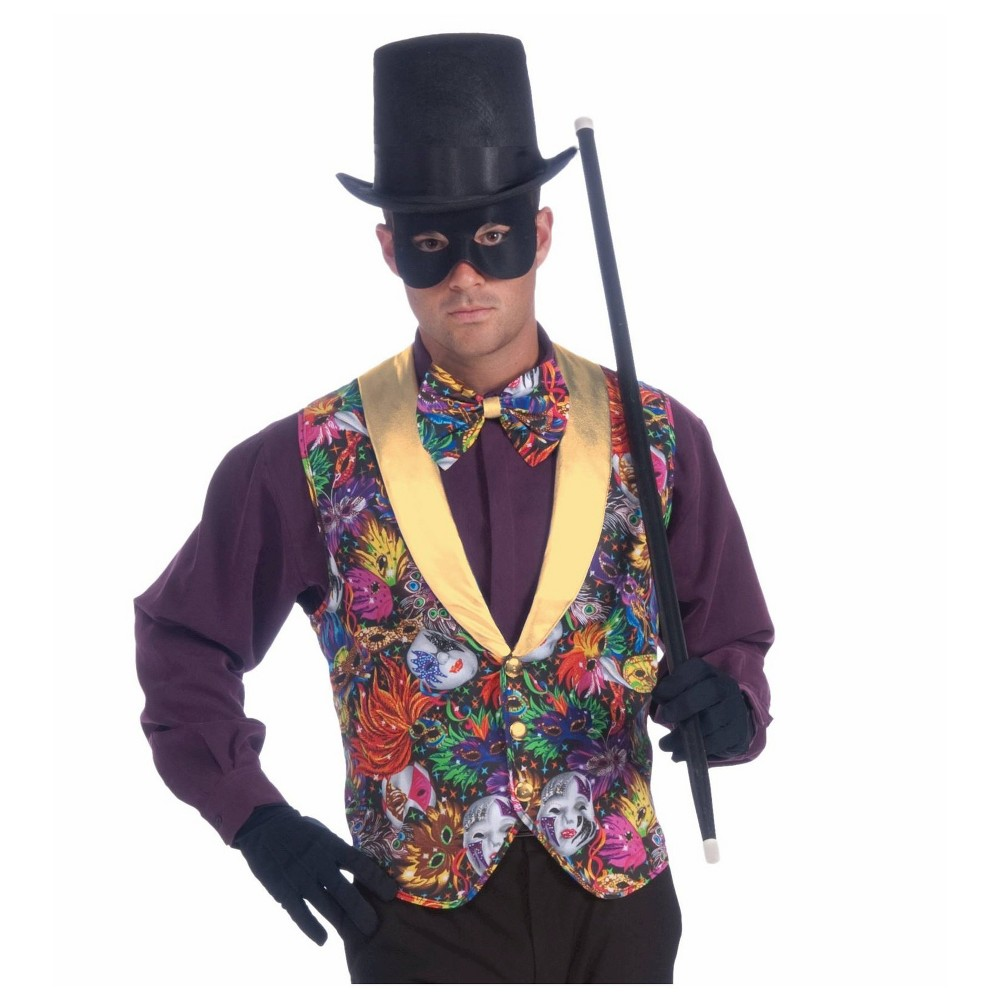 Halloween Adult Mardi Gras Vest and Bow Tie Accessory Kit One Size Fits Most, Men's, Green/Purple