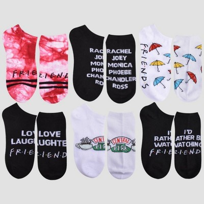 Girls' Friends 6pk Socks - Red/Black/White