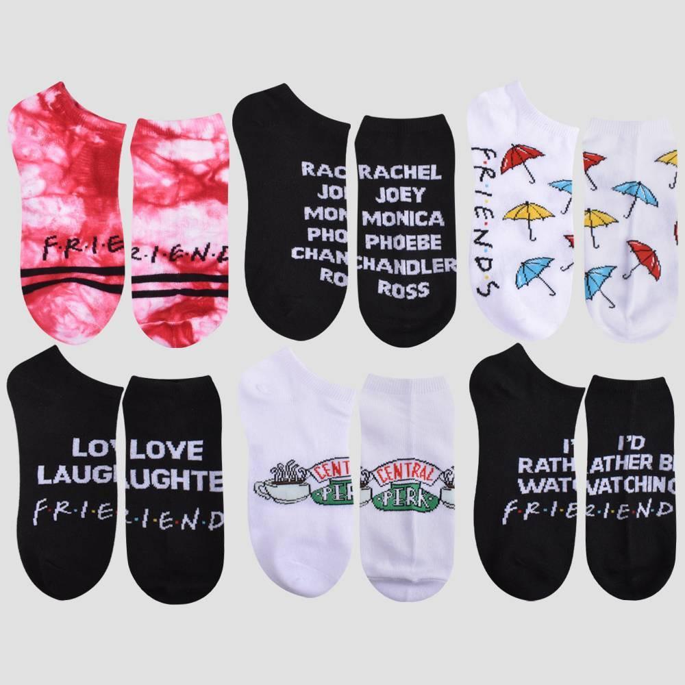 Girls 39 Friends 6pk Socks Red Black White M L