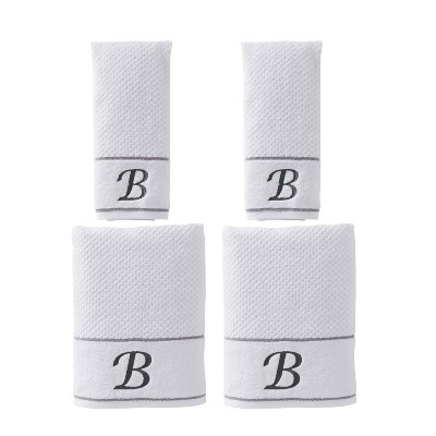 "4pc ""B"" Monogram Bath/Hand Towel Set White - SKL Home"