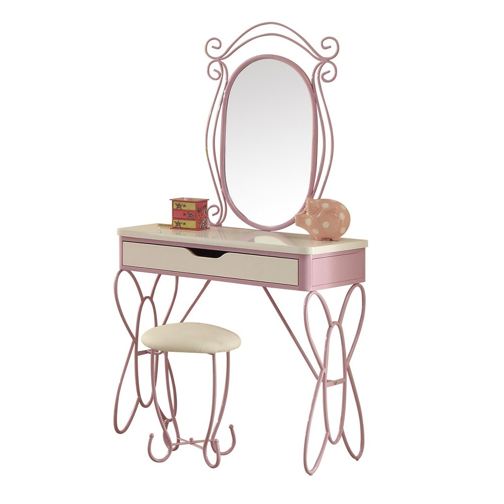 Acme Furniture Vanity Set White Purple, White And Light Purple