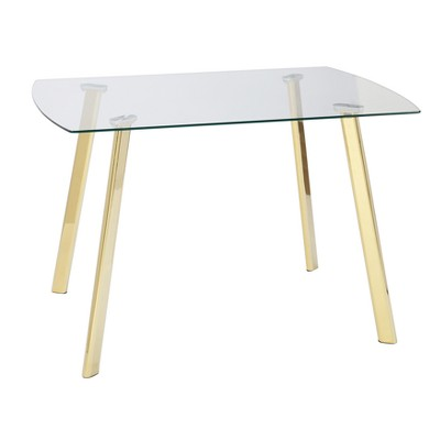 Uptown Dining Table Glass/Gold Metal - Buylateral